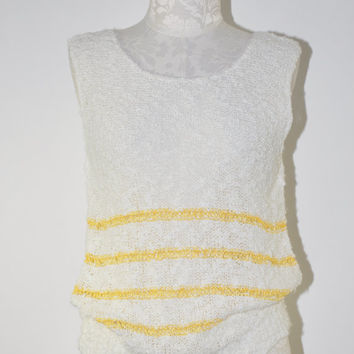 70s white knit tank top / vintage nubby knit shell / 1970s sleeveless slouchy top
