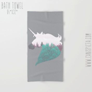 Unicorn Towel Woodland Bath Beach Terry Hand Bathroom Decor Gift Forest Horse Mint Grey Pony Unique Tree Mythical Fantasy White Gift Animal