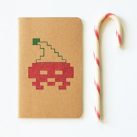 Retrogaming stocking stuffer 8 bit santa christmas moleskine, lined journal