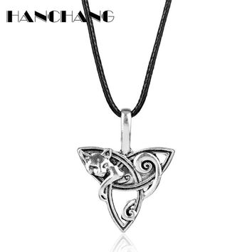 Vintage Accessories  Fenrir Irish Knot Design Celtics Fox Pendant Necklace Viking Jewelry Leather Rope Colar Collier for Women