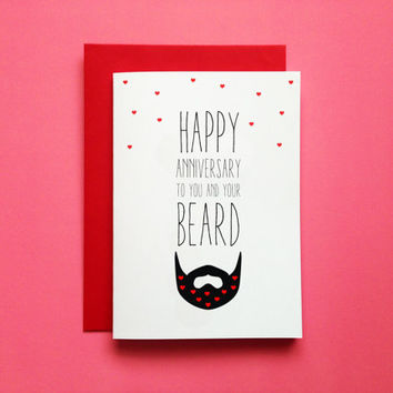 Beard Anniversary Card, Funny Beard Anniversary Greeting Card, Beard Card Husband, Beard First Annivrsary Card For Boyfriend Love Beard Card