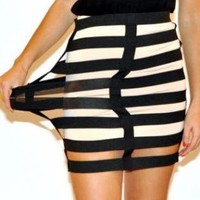 Black Elastic Cage Mini Skirt