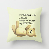Teddy Bear Throw Pillow by Veronica Ventress | Society6