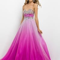Beaded Sweetheart Top Bodice Chiffon Blush Prom Dress 9785