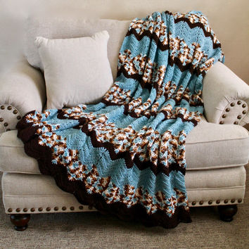 Afghan - Crochet Ripple Blanket - Cozy Throw - Chevron Blanket in Blue and Browns - Full Size Afghan