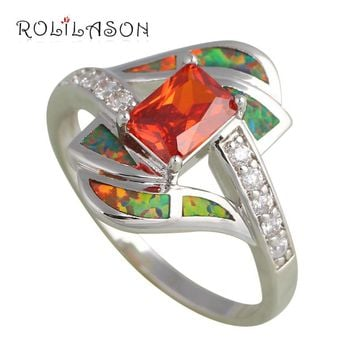 Rectangle Orange Zirconia design  Orange fire Opal 925 Silver Rings fashion jewelry USA size #8 OR628 hot selling