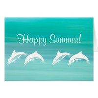 Happy Summer Playful dolphins in aquamarine ocean Card