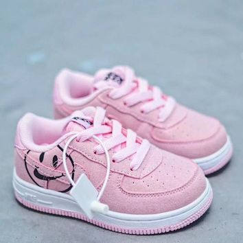 HCXX 19Aug 841 Nike Air Force 1 Kid HAVE A NIKE DAY SMILEY FACE LOGOS Low Sneaker Casual Fashion Skateborad Shoes