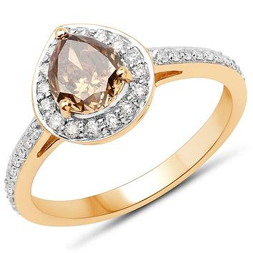 18K Yellow Gold Ethically Mined 1.54CT Pear Cut Chocolate Diamond Halo Engagement Ring