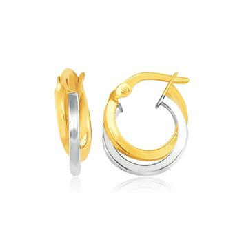 14K Two Tone Gold Earrings in Double Round Hoop Style