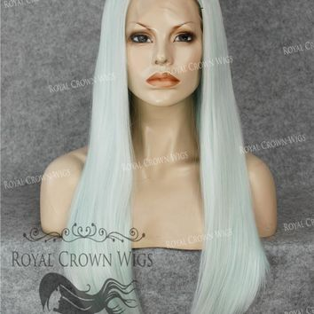 """24"""" Heat Safe Synthetic Straight Texture Lace Front """"Aphrodite"""" in Ash Blue"""