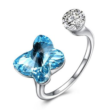 Blue Sapphire Butterfly Shaped Adjustable Ring 925 Sterling Silver Unique Casual Rings