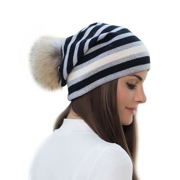 Cashmere Warm Women Hat Cotton Double Layer Hat Female Striped Knit Women Beanie With Raccoon Ball Removable Fashion Girls Hat