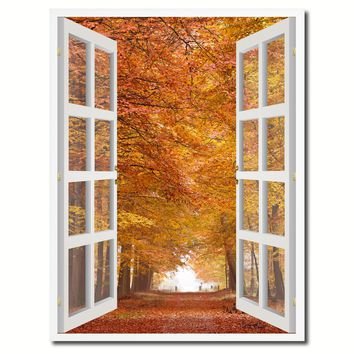 Autumn Trees Red Leaves Picture French Window Canvas Print with Frame Gifts Home Decor Wall Art Collection