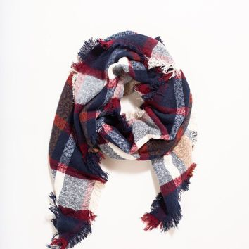 Fiona Red, Navy, and White Plaid Scarf