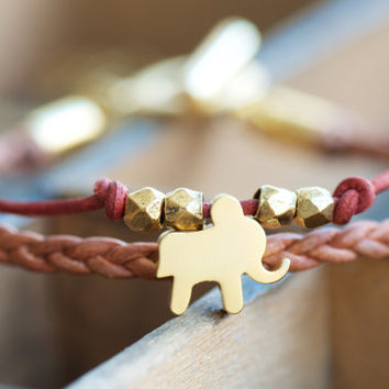 Elephant Bracelet, Leather Bracelet, Matte Gold Jewelry,Gold Bracelet,Leather Jewelry,Elephant Charm Bracelet,Red Leather Bracelet