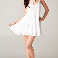 WHITE OPEN BACK BABYDOLL TIERED DRESS