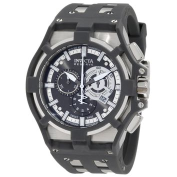 Invicta 0631 Men's Akula Reserve Chronograph Gunmetal Dial Grey Silicone & Steel Strap Watch