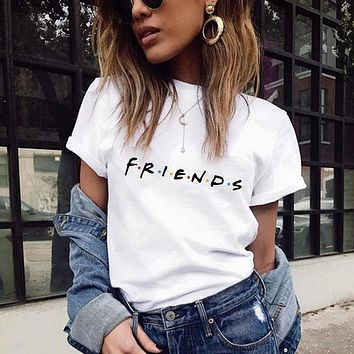 Women Casual Fashion Letter Print Short Sleeve T-shirt Tops Tee