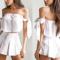 New summer sexy Women Knotted striped shorts suit -0531