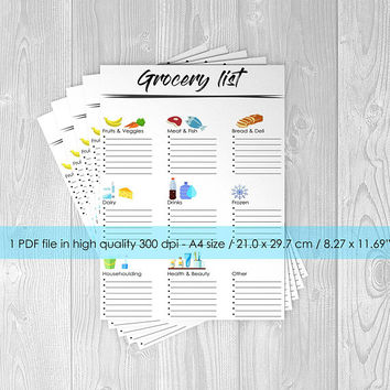 Printable Grocery list planner - INSTANT DOWNLOAD!