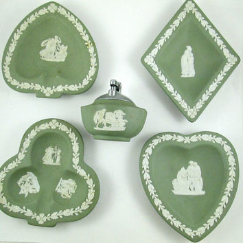 Vintage Green Wedgwood Bridge Set Lighter Plus Four Small Dishes One For Each Suit Jasperware Sage Green Very Good Condition Gift It!