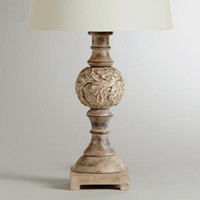 Wooden Round Pedestal Table Lamp Base