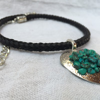 Maggie ~ Heart Concho Necklace with Turquoise Beads