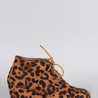 Bamboo Leopard Patch Work Wedge Booties