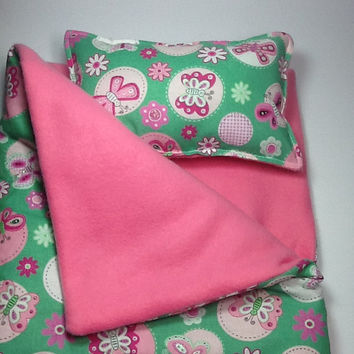 "Doll Sleeping Bag and pillow,  pink and green, butterflies, 18"" dolls and others, pink fleece lining, use for slumber party or camping bag"