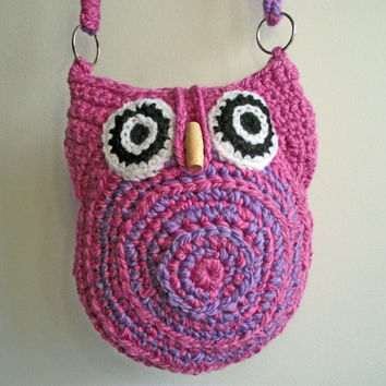 Pink Crochet Owl Bag, Handspun Crochet Owl Bag, Pink Lilac Owl Crossbody Bag, Crochet Owl Shoulder Bag, Crochet Bag with Adjustable Strap