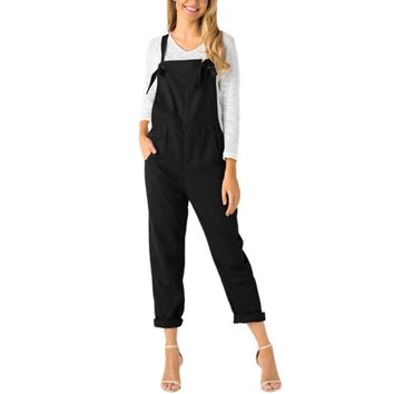 Women Loose Dungarees Casual Solid Pockets Long Rompers SummerLadies Fashion Jumpsuit Pants Trousers #VE