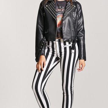 Striped Low-Rise Skinny Jeans