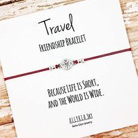 "Compass Friendship Bracelet with ""Travel"" Card 