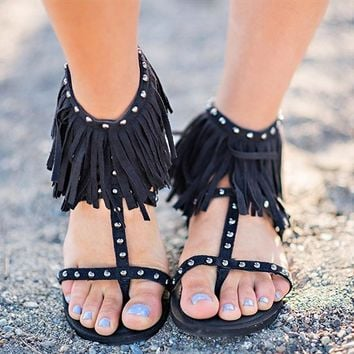 Fringed and Studded Flat Sandals 3 Colors