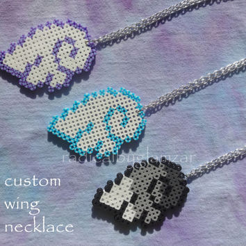 Custom Wing Necklace - Angel/Pegasus - Perler Bead Jewelry