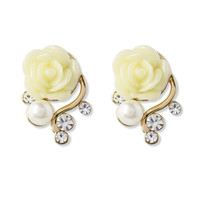 Crystal Pearl Beads Rose Earrings Multi