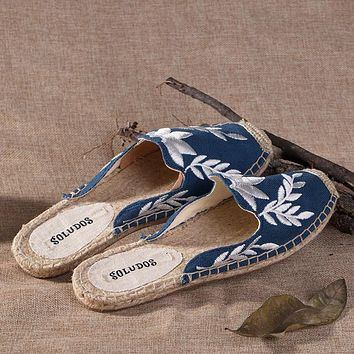 Soludos Women Slipper Blue Maple Leaf Espadrilles Shoe