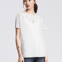 Banana Republic Womens Embroidered Voile Top