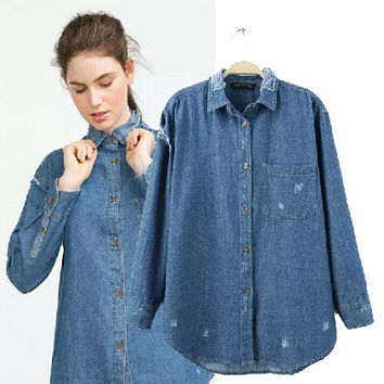 Women's Fashion Rinsed Denim Denim Long Sleeve Tops Shirt Blouse [4919017028]