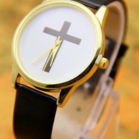 Black Leather Cross Watch