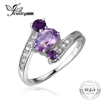 JewelryPalace 925 Sterling Silver 0.9ct Natural Amethyst 3 Stone Anniversary Ring Statement Ring Fine Jewelry for Women