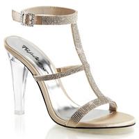 Champagne 4 1/2 Inch Clear See-Through Heel Sandals w/ 1/4 Inch Platform