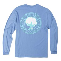 Southern Shirt Company Signature Logo Long Sleeve T-Shirt in Cornflower Blue 3T023-217