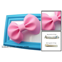 Large Pink Hair Bow Barrette or Alligator Clip READY TO SHIP