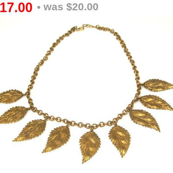 1960s Copper Leaf Necklace Copper Necklace
