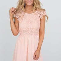 Crochet Lace Detail Dress - Soft Peach