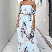 The Hidden Path Mint Off She Shoulder Maxi Dress