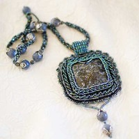 Gemstone Glass Bead Embroidery Agate Pendant Blue Coral Woven Necklace