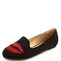 Stitched Lips Sueded Loafer: Charlotte Russe